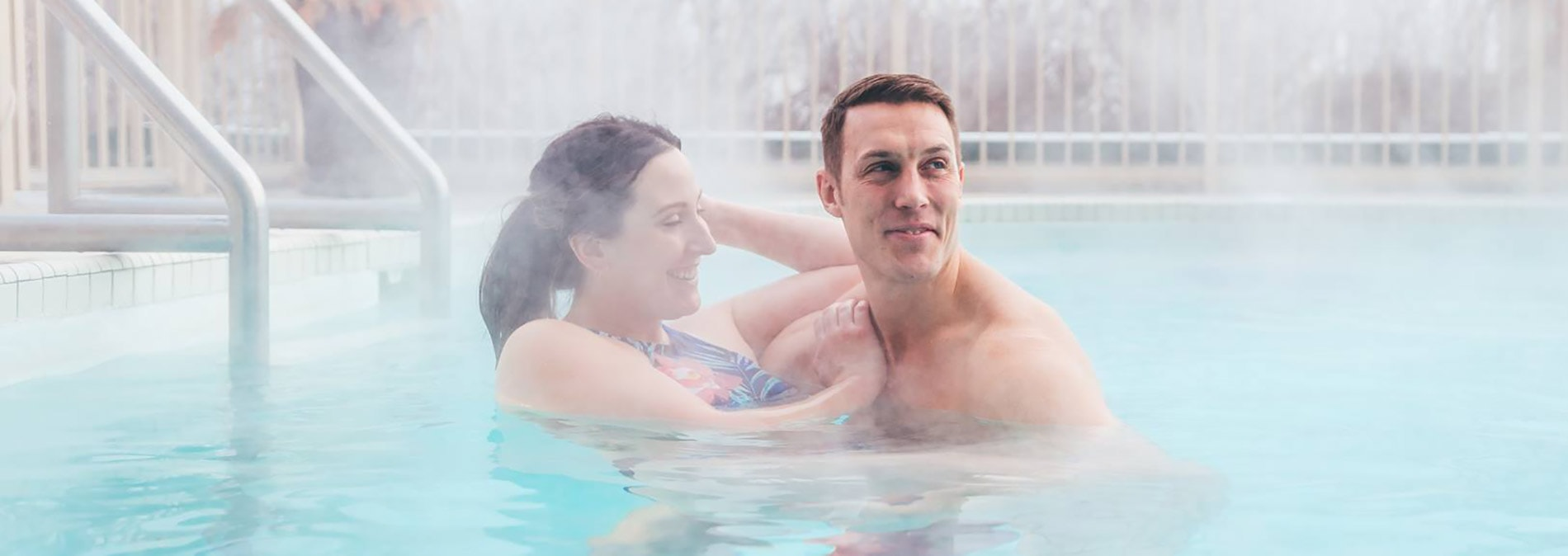 Couple at Temple Gardens Hotel & Spa mineral pool