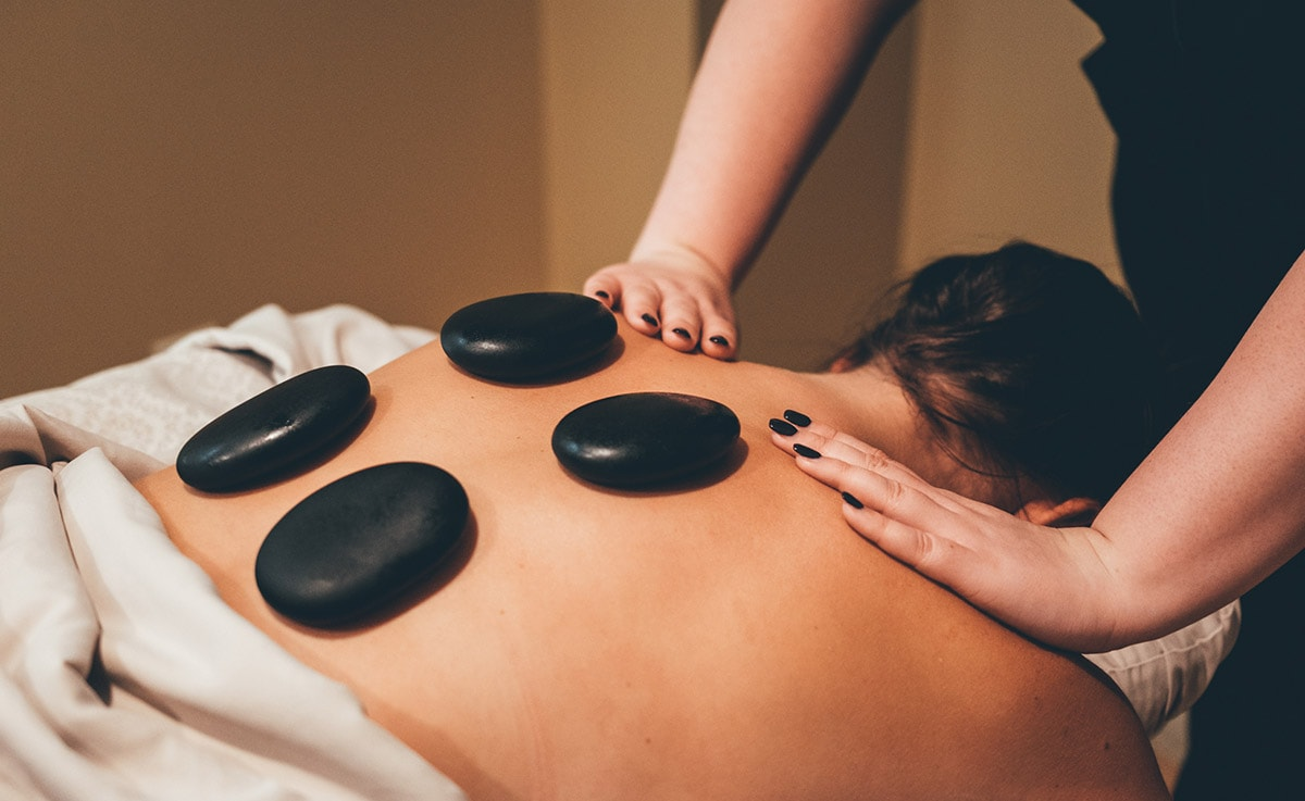 Spa massage with stones