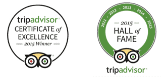 Trip Advisor badges - 2015 ceritificate of excellence and 2015 Hall of Fame